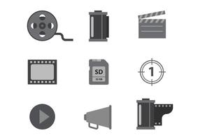 Grayscale Cinema and Film Vector Icons