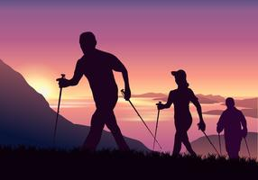 Adventurous People Nordic Walking in Mountain Vector