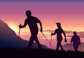 Las personas aventureras Nordic Walking en la montaña del vector