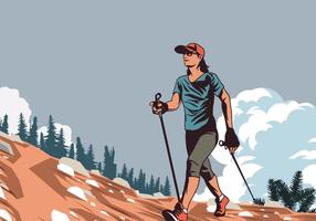 Donna della camminata nordica nel vettore della natura
