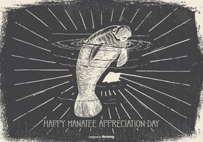 Vintage Manatee Appreciation Day Illustration