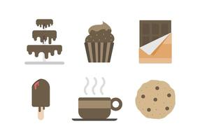 Fri läcker chokladkaka och söta vektorer