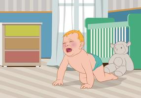 Crying Baby Out of His Crib Vector