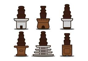 Fontaine de chocolat illustration set