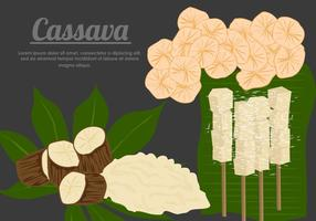 Kassava Root Med Cassava mat vektorer