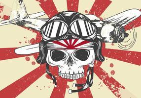 Vector de la Segunda Guerra Mundial Cráneo del kamikaze