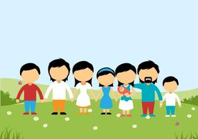Family on a Hill Background Vector