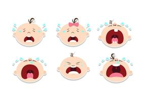 Crying Baby Sticker Design Vectors