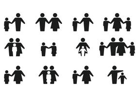 Simple Family Silhouette Icon Vectors