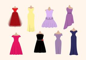 Flat Woman's Dress Vectors