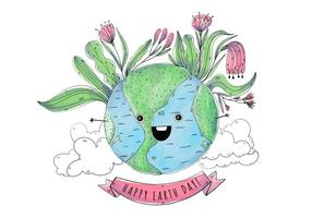 Cute World Cartoon Earth day