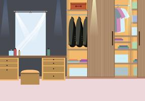 Wood Cabinet Dressing Room Illustration