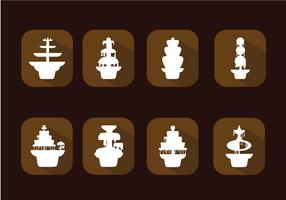 Fontaine de chocolat Icon Set Vector gratuit