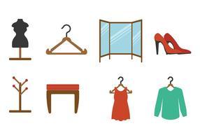 Vestidor planas Vectores del icono