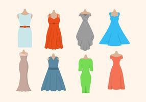 Vestido vetores da mulher plana