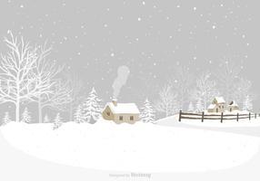 Vinter Village Vector Bakgrund