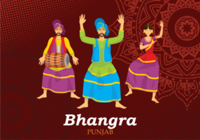 Bhangra Folk Dance Illustratie