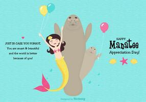 Cute Manatee Appreciation Day Vector Card