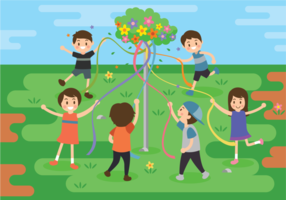 Maypole Free Vector Illustration