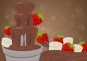 Chocolate Fountain Background with Strawberries Vector