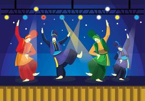 Bhangra Dancers On Stage Vector
