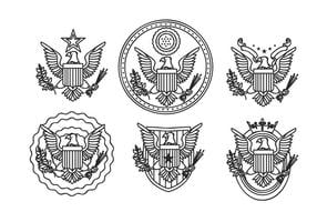 sello del águila mano esbozo dibujado vector