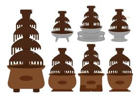 Chocolate fountain illustration set