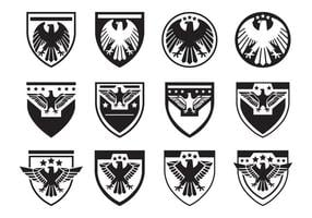 Black Eagle Seal Symbol Vector Set