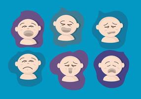 Crying Baby Face Vector Set