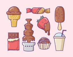 Verschiedene Schokolade Artikel Icons