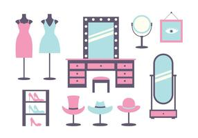 Pink and Blue Dressing Room Icons  vector