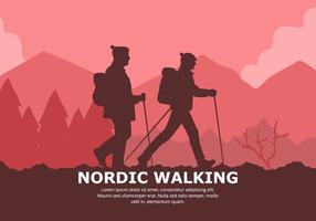 Nordic Walking Background vector