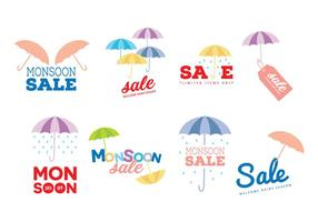 Monsoon Sale Vector Labels