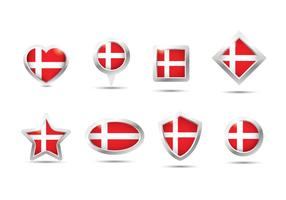 Danish Flag Button Vector