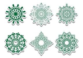 Green Arabian Circle Vector Ornaments