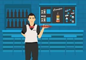 Man Waiter Serving Canapes Vector Illustration