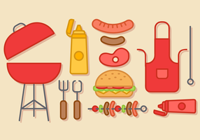 Fri Barbecue Elements Vector