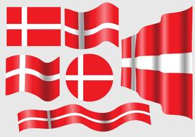 Bandera danesa Vector Set