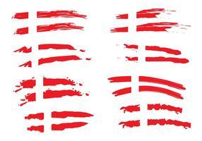 Painted Dänische Flagge Vektoren
