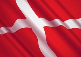 Danish Flag In The Wind Vector