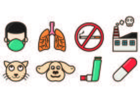 Set Of Asthma Icons