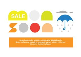 Venda Oferta Monsoon Poster Elements Vector