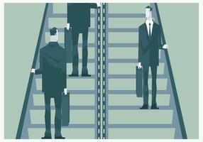 Los hombres de negocios en la escalera mecánica vectorial