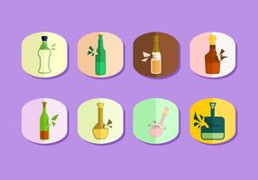 Flat Broken Bottle Free Vector