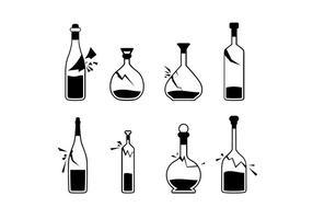 Zwart-wit gebroken fles Gratis Vector