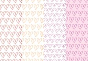Vector Hand Drawn Hearts Patterns