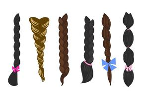Hair Plait Icons Vector