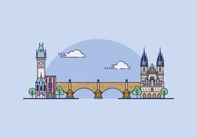 Prague Landmark Illustration
