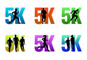 5K Corriendo Logos Vector