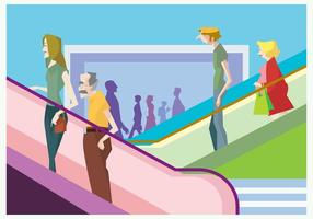 People on a Mall Escalator Vector